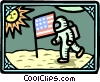Vector Clipart graphic  of a Man on moon USA