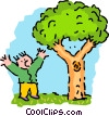 man mimicking tree - cartoon Vector Clip Art picture