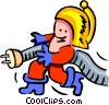 Vector Clip Art graphic  of a fireman and plug - cartoon