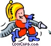 fireman and hose - cartoon Vector Clipart picture