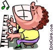 Vector Clip Art image  of a piano man - cartoon