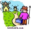 Vector Clip Art graphic  of a going to the windmills -