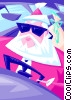 Santa driving - abstract Vector Clipart image