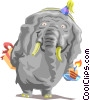 Vector Clipart picture  of a Birthday elephant