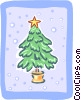 Vector Clipart graphic  of a Potted Christmas tree in snow