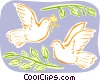 Vector Clip Art graphic  of a doves and olive branches