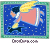 Vector Clipart graphic  of an angel and cat