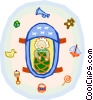 Vector Clip Art graphic  of a baby in carrier surrounded by