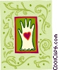 glove and heart Vector Clipart graphic