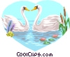swans in love Vector Clip Art graphic
