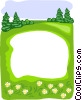 Vector Clip Art image  of a forest pond border
