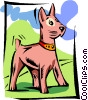 Vector Clipart image  of a dog on alert
