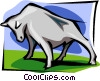 bull in stance Vector Clipart picture