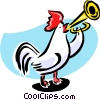 Vector Clip Art image  of a rooster playing reveille