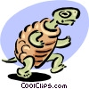 turtle racing on hind legs Vector Clipart illustration