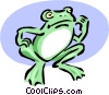 Vector Clip Art picture  of a frog beckoning