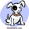 Vector Clipart graphic  of a puppy with black eye