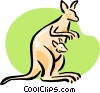 Vector Clip Art image  of a kangaroo and Joey