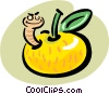 Vector Clip Art image  of a worm in apple