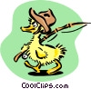 Vector Clip Art image  of a baby duck going fishing