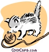 kitten and yarn Vector Clipart graphic