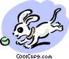 Vector Clipart graphic  of a pup chasing ball