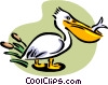 Vector Clipart illustration  of a pelican with fish