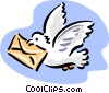 pigeon with letter Vector Clipart illustration