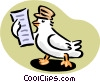 Vector Clipart picture  of a pigeon reading message