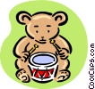 Vector Clipart graphic  of a teddy playing drum