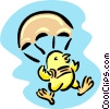 parachuting chick Vector Clipart picture