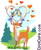 Vector Clipart graphic  of a lovebirds and deer