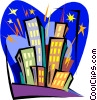 buildings in fireworks Vector Clip Art picture