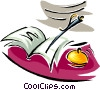 Vector Clip Art graphic  of a pen paper and bell