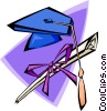 Vector Clip Art image  of a mortar board and degree