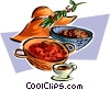 harvested bowls of food Vector Clipart image
