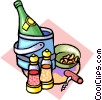 Vector Clip Art graphic  of a Champagne on ice with nuts