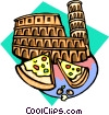 Vector Clipart illustration  of a pizza by stadium