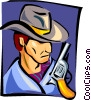 Vector Clipart graphic  of a cowboy bust - cartoon