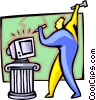 Vector Clip Art graphic  of a computer sculptor - cartoon