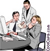 Vector Clip Art graphic  of a business team at phone and