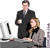 Business woman and man at computer Vector Clipart illustration