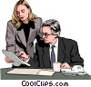 Vector Clip Art image  of a Businessman and woman reading