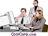 Vector Clip Art graphic  of a business team at computer -