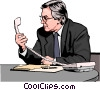 Vector Clip Art graphic  of a Businessman looking at phone