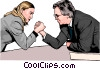 Business woman and man arm wrestle Vector Clipart illustration
