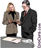 Vector Clipart graphic  of a woman and man standing at desk