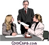 man handing document to women at desk Vector Clipart illustration