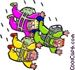 Vector Clipart graphic  of a Three skydivers - cartoon