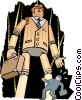 Vector Clipart graphic  of a puppet businessman - cartoon